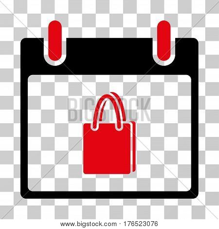 Shopping Bag Calendar Day icon. Vector illustration style is flat iconic bicolor symbol, intensive red and black colors, transparent background. Designed for web and software interfaces.