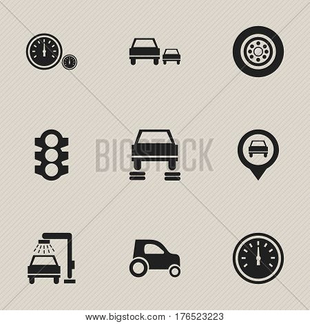 Set Of 9 Editable Vehicle Icons. Includes Symbols Such As Speedometer, Vehicle Car, Stoplight And More. Can Be Used For Web, Mobile, UI And Infographic Design.