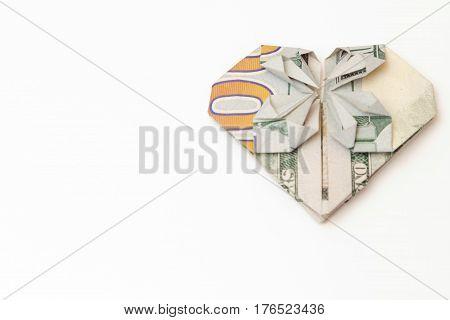 Dollar Bill Folded Heart