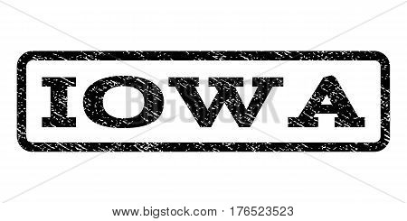 Iowa watermark stamp. Text tag inside rounded rectangle frame with grunge design style. Rubber seal stamp with unclean texture. Vector black ink imprint on a white background.