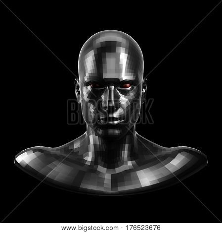 3D rendering. Faceted black robot face with red eyes looking front on camera. Isolated on black background