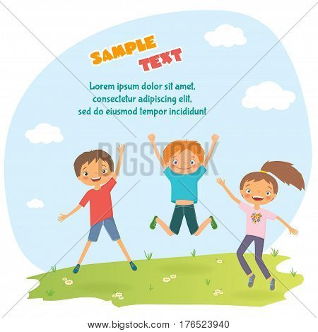 Children's design with happy jumping kids. Cartoon vector illustration