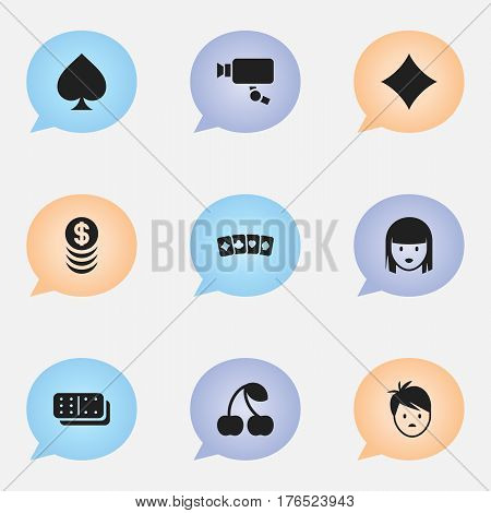 Set Of 9 Editable Excitement Icons. Includes Symbols Such As Tracking Cam, Card Suits, Boy And More. Can Be Used For Web, Mobile, UI And Infographic Design.