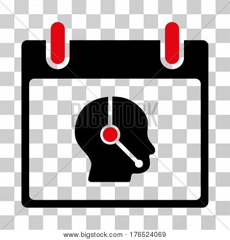 Telemarketing Operator Calendar Day icon. Vector illustration style is flat iconic bicolor symbol, intensive red and black colors, transparent background. Designed for web and software interfaces.
