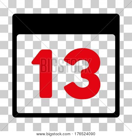 Thirteenth Calendar Page icon. Vector illustration style is flat iconic bicolor symbol, intensive red and black colors, transparent background. Designed for web and software interfaces.