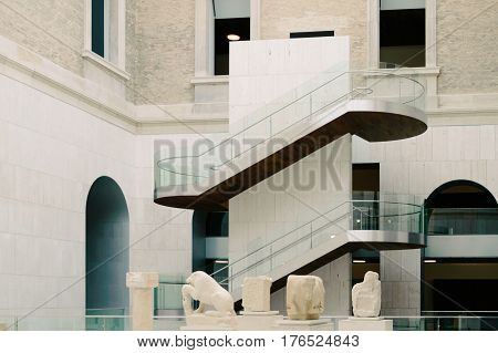 Madrid Spain - September 27 2014: Indoors view of National Archaeological Museum of Spain. It is located in Serrano Street. The collection includes Prehistoric Egyptian Celtic Iberian Greek and Roman antiquities and medieval.