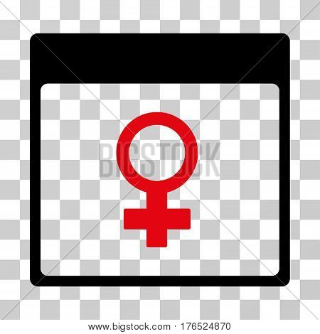 Venus Female Symbol Calendar Page icon. Vector illustration style is flat iconic bicolor symbol, intensive red and black colors, transparent background. Designed for web and software interfaces.