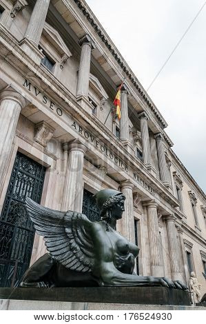 Madrid Spain - September 27 2014: Outdoors view of National Archaeological Museum of Spain. It is located in Serrano Street. The collection includes Prehistoric Egyptian Celtic Iberian Greek and Roman antiquities and medieval.