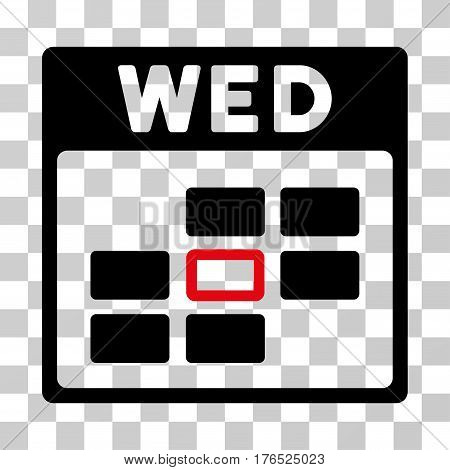 Wednesday Calendar Grid icon. Vector illustration style is flat iconic bicolor symbol, intensive red and black colors, transparent background. Designed for web and software interfaces.
