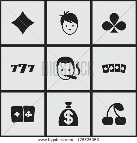 Set Of 9 Editable Casino Icons. Includes Symbols Such As Lucky Seven, Rhombus, Moneybag And More. Can Be Used For Web, Mobile, UI And Infographic Design.