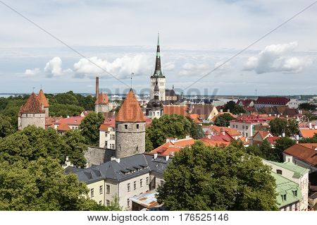 The towers rooftops and churches of Tallinn, Estonia