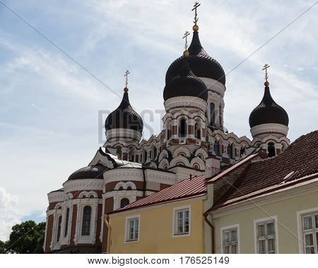 Alexander Nevsky Cathedral rises above the rooftops of Tallinn