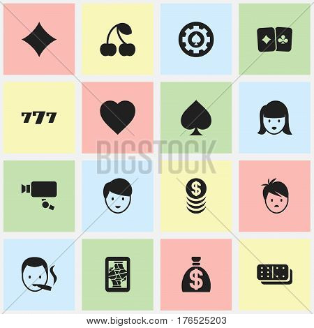 Set Of 16 Editable Gambling Icons. Includes Symbols Such As Lucky Seven, Casino Worker, Black Heart And More. Can Be Used For Web, Mobile, UI And Infographic Design.