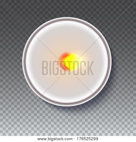 Realistic wax, flamed round candle in a metal case isolated on transparent backdrop. Top view on white burning candle. Template for invitation or greeting cards. Vector illustration.