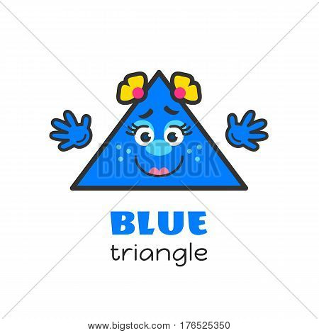 Triangle geometric shape vector illustration for kids. Cartoon blue triangle character with face and hands for preschool or primary school children. Set of funny geometric shapes