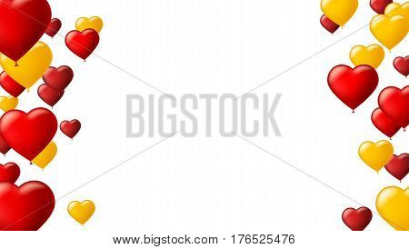 Abstract background with flying colored balloons. Template for greeting card with air balloons in the shape of a heart. Festive mock-up for greeting cards, presentations, ad with inflatable balloons