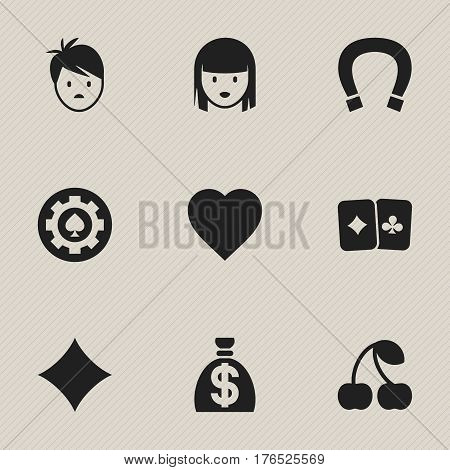 Set Of 9 Editable Casino Icons. Includes Symbols Such As Female Face, Black Heart, Moneybag And More. Can Be Used For Web, Mobile, UI And Infographic Design.