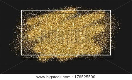 Gold glitter background. Golden design in frame, border for greeting card, flyer poster, sign, banner, web header. Abstract sparkle, sequin texture.