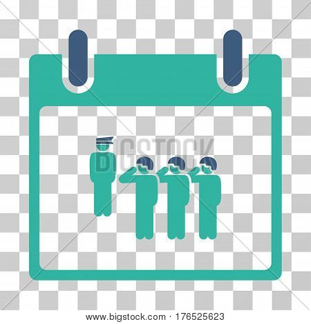 Army Squad Calendar Day icon. Vector illustration style is flat iconic bicolor symbol, cobalt and cyan colors, transparent background. Designed for web and software interfaces.