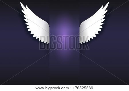 Banner with angel wings. Artificial paper wings, soaring wings with place for your message on dark background Card for your creativity