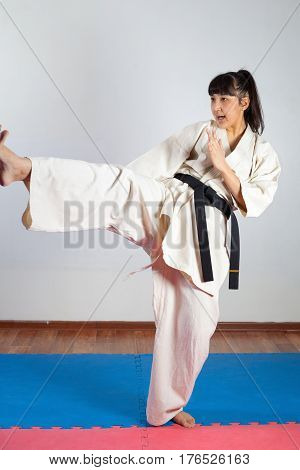 Woman demonstrate martial arts working together. Fighting position active lifestyle expressing emotions
