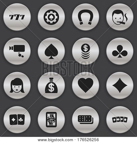 Set Of 16 Editable Excitement Icons. Includes Symbols Such As Lucky Seven, Luck Charm, Moneybag And More. Can Be Used For Web, Mobile, UI And Infographic Design.