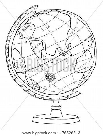 Crams Imperial World Globe line art hand drawn cute illustration
