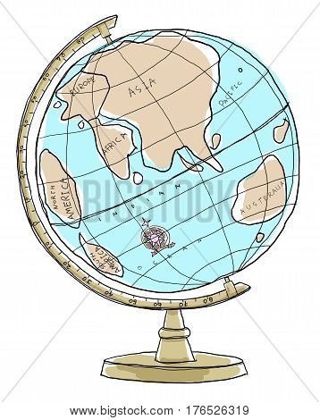 Crams Imperial World Globe art painting line art handdrawn illustration