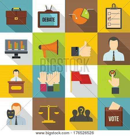 Election voting icons set. Flat illustration of 16 Election voting vector icons for web