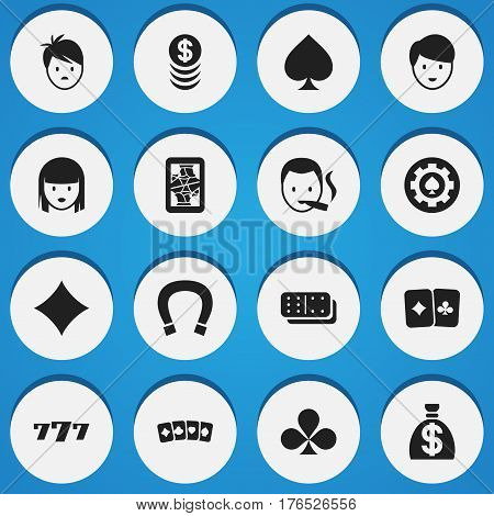 Set Of 16 Editable Excitement Icons. Includes Symbols Such As Lucky Seven, Rhombus, Bones Game And More. Can Be Used For Web, Mobile, UI And Infographic Design.
