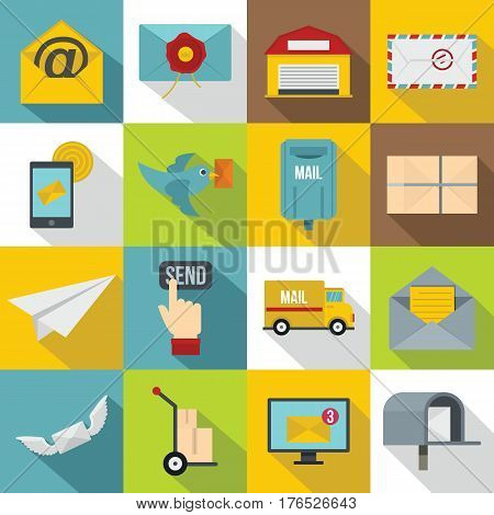 Poste service icons set. Flat illustration of 16 poste service vector icons for web
