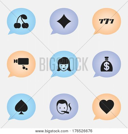Set Of 9 Editable Business Icons. Includes Symbols Such As Rhombus, Love, Lucky Seven And More. Can Be Used For Web, Mobile, UI And Infographic Design.