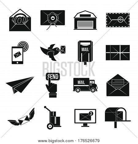 Poste service icons set. Simple illustration of 16 poste service vector icons for web
