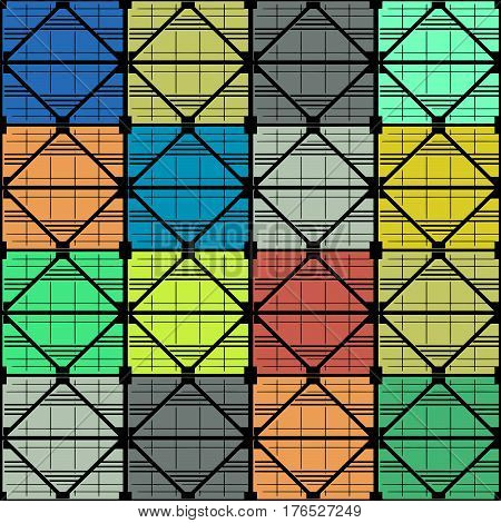 Seamless vector texture, pattern on the subject of industrial architecture. The black frame of the supporting trusses. Multicolor  filling of cells.