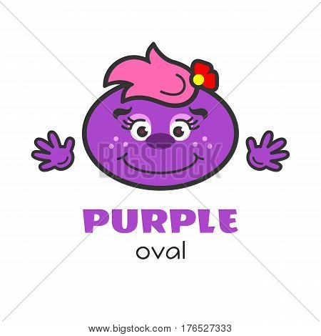 Oval geometric shape vector illustration for kids. Cartoon purple oval character with face and hands for preschool or primary school children. Cards with funny geometric shapes for activities with kids