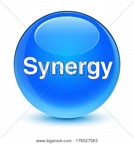 Synergy Glassy Cyan Blue Round Button