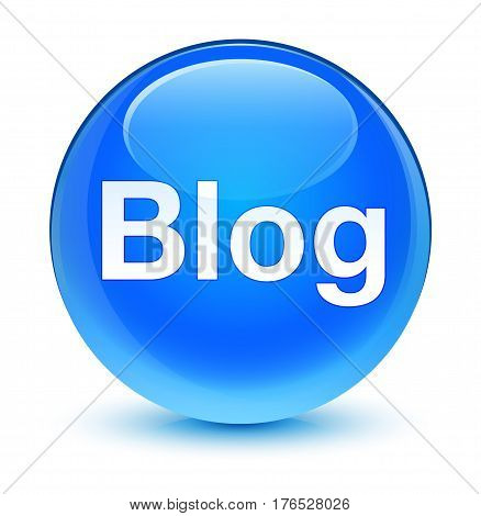 Blog Glassy Cyan Blue Round Button