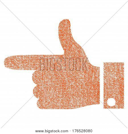Hand Pointer Left vector textured icon for overlay watermark stamps. Fabric orange vectorized texture. Symbol with unclean design. Rubber seal stamp with fiber textile structure.