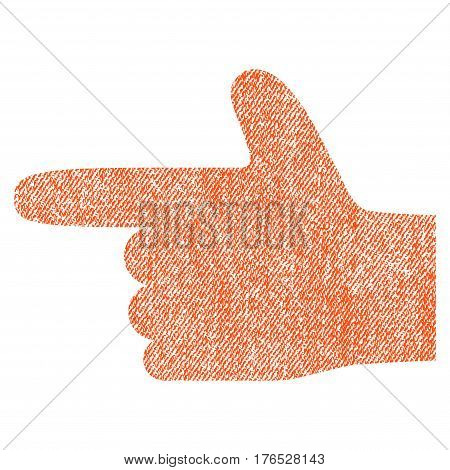 Hand Pointer Left vector textured icon for overlay watermark stamps. Fabric orange vectorized texture. Symbol with scratched design. Rubber seal stamp with fiber textile structure.