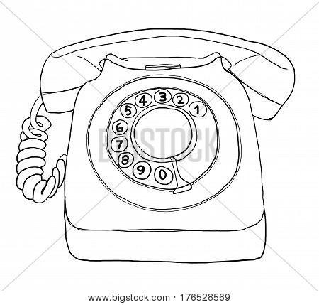 Gray Telephone Vintage line art  hand drawn cute illustration