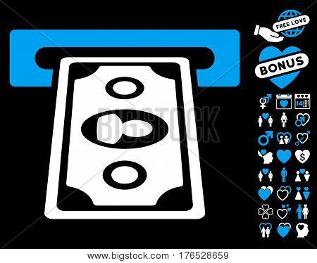 Cashpoint Terminal pictograph with bonus amour design elements. Vector illustration style is flat iconic symbols on white background.