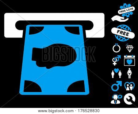 Cashpoint icon with bonus marriage graphic icons. Vector illustration style is flat iconic symbols on white background.
