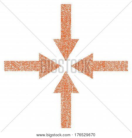 Impact Arrows vector textured icon for overlay watermark stamps. Fabric orange vectorized texture. Symbol with unclean design. Rubber seal stamp with fiber textile structure.