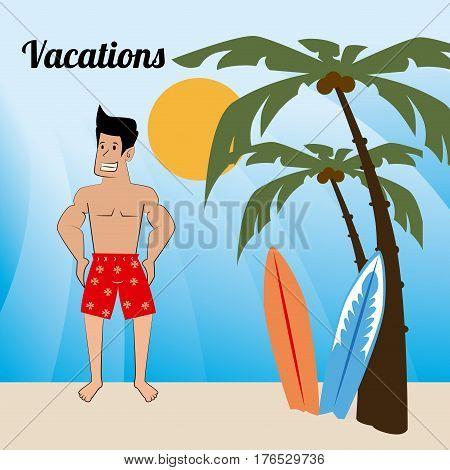 Summer design over beachscape background, vector illustration