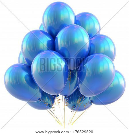 Balloons happy birthday party decoration blue cyan glossy. 3D illustration isolated