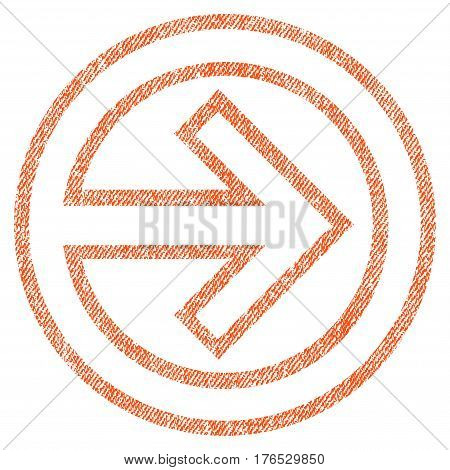 Import vector textured icon for overlay watermark stamps. Fabric orange vectorized texture. Symbol with unclean design. Rubber seal stamp with fiber textile structure.