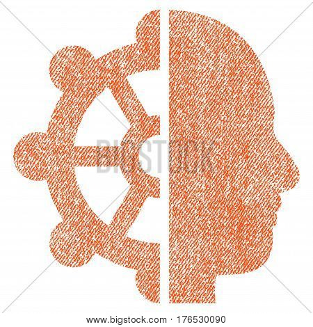 Intellect vector textured icon for overlay watermark stamps. Fabric orange vectorized texture. Symbol with scratched design. Rubber seal stamp with fiber textile structure.