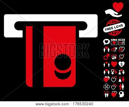 Automated Banking Service pictograph with bonus decoration pictograph collection. Vector illustration style is flat iconic symbols on white background.