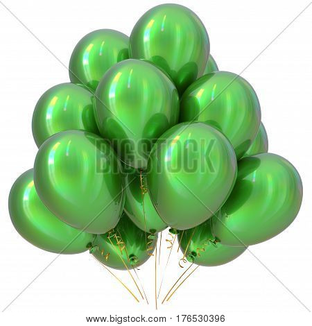 Balloons green happy birthday party decoration glossy. 3D illustration isolated