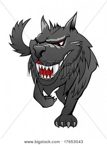 Wild danger grey wolf in cartoon style isolated on white